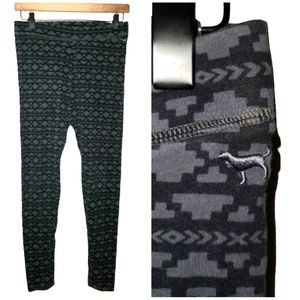 VS PINK Aztec Leggings 7/8 Black Gray Medium